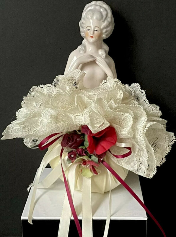 Antique German  Pincushion Marie Antoinette Style Half Doll Numbered 18416