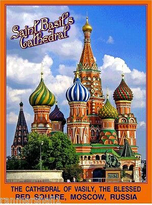 Moscow Russia St. Saint Basil's Cathedral Russian Travel Advertisement Poster 2