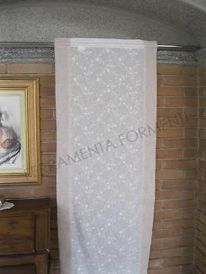 Tenda arredamento casa a vetro, 1 pannello cm 60 x h.240 effetto lino, ricamato