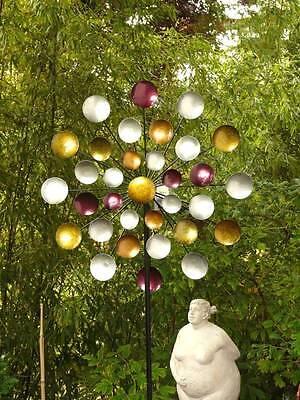 Windrad Regenbogen Gartenstecker Metall Windspiel Höhe 197 cm d: ca. 80 cm 3fach
