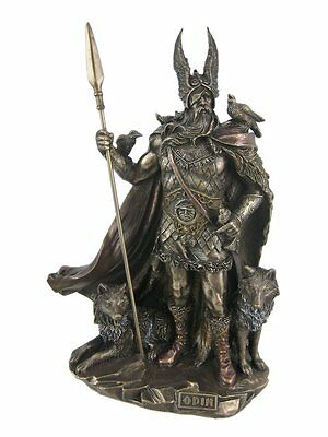 Norse God Odin with Wolves & Crows Sculpture Allfather Statue Viking Figure