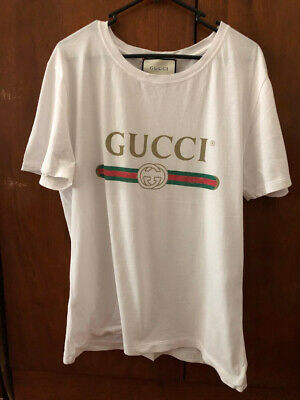 Gucci Classic T-Shirt Washed Vintage Logo Men's Unisex - Size Small