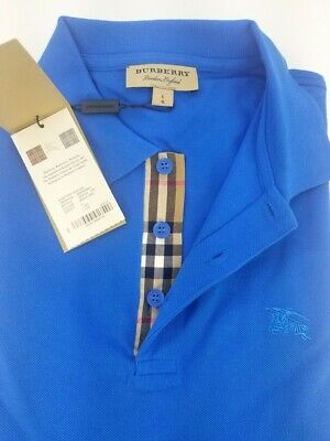 New Burberry London Mens Bright Opal Short Sleeve Check Polo Shirt (Burberry Thailand)