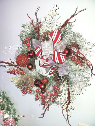 """Snow Frosted Christmas Red Spiral Grapevine Wreath Ornaments Pinecones   18"""""""