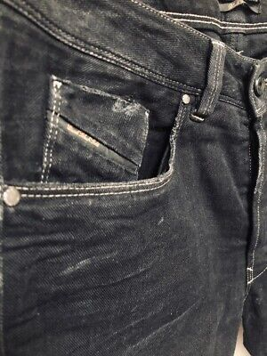 $450 Authentic DIESEL BLACK GOLD Men's Pivenoti Dirty Look Slim Black Jeans 32