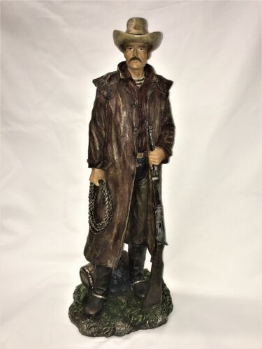 """Large 20"""" Tall Collectible Cowboy Statue Livingroom Bed Room Den Man Cave"""