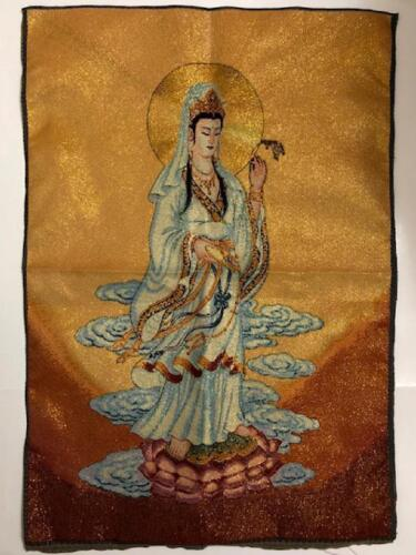 A Pair of Beautiful Quan Yin  & Buddha Embroidered Silk Tapestry