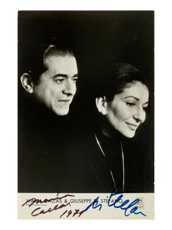 Framed photo signed by Maria Callas and Giuseppe di Stefano