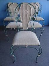 6 DINING CHAIRS SHABBY GREEN WROUGHT IRON BEIGE CORD FABRIC CANE Geebung Brisbane North East Preview