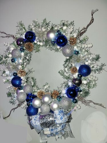 """Lighted Snow Frosted 18"""" Blue and Silver Christmas Wreath Ornaments Ribbon Bow"""