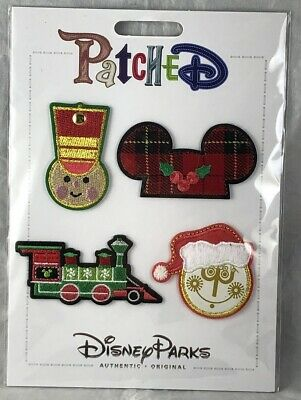 Disney Parks Patched Christmas WDW Train Soldier Small World Ears Patch Set NEW
