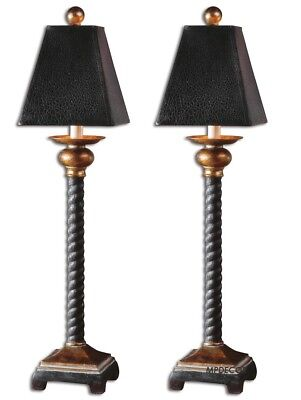 Bellcord English Barley Twist Style Buffet Table Lamps Set Of 2~ Uttermost 29007