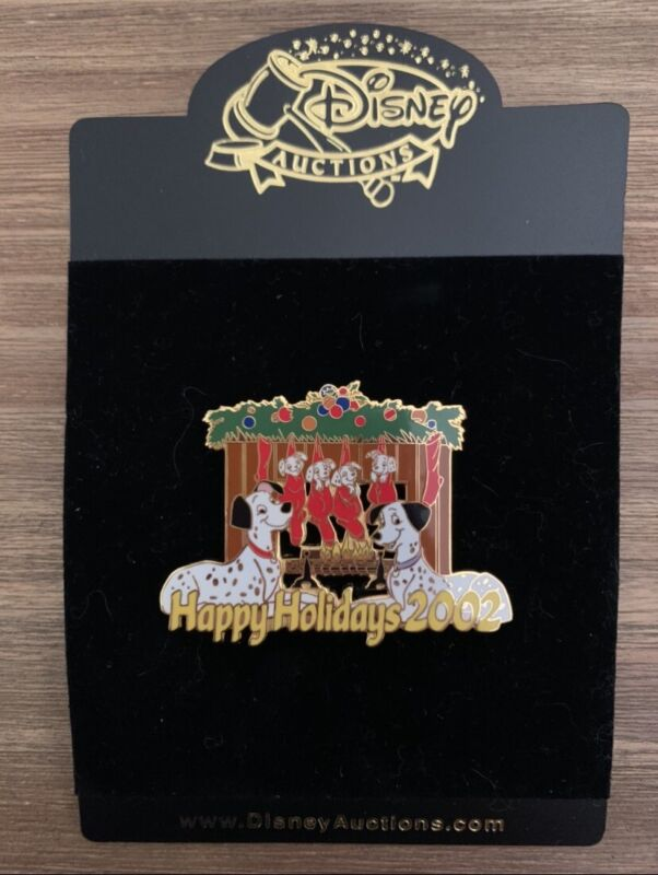 Disney Auctions Happy Holidays 2002 Dalmatians By The Fireplace Pin LE 100 Error