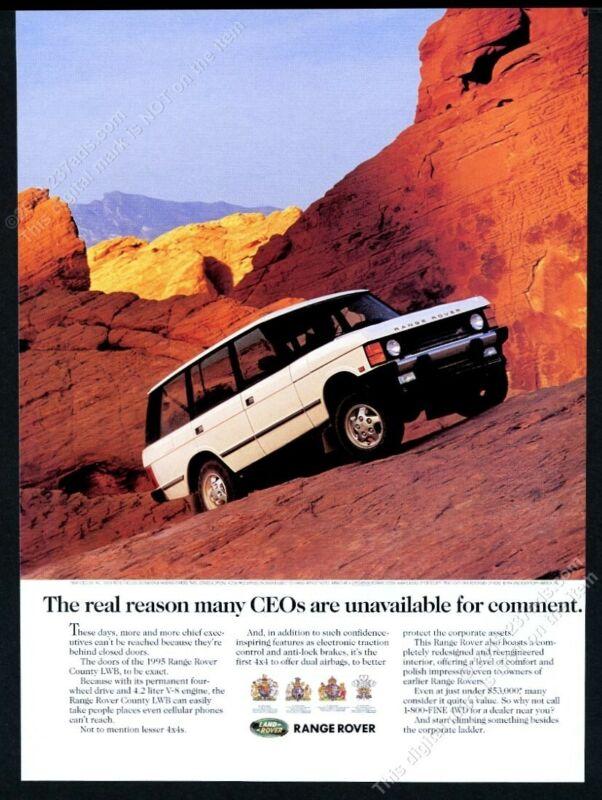 1994 Land Rover Range Rover County LWB red rock desert photo vintage print ad