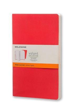 Large Ruled Journal (2 Moleskine Volant Journal, Rule Large, Geranium & Scarlett, Brand New )