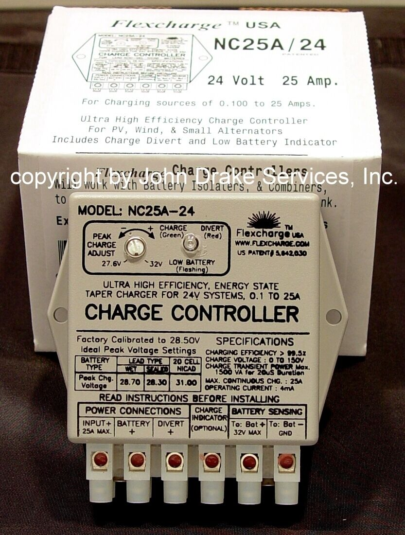 Flexcharge Wind Turbine Solar Hydro Charge Controller Nc25a-24 Volt Made In Usa