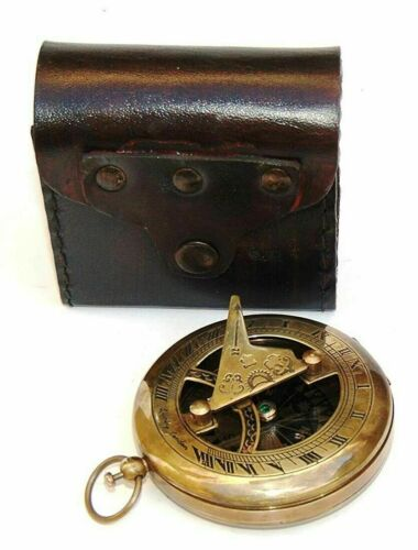 Brass Nautical Sundial Compass Copper & Antique Vintage Nautical Maritime