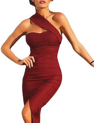 Abito donna vestito corto spacco elegante aderente sexy senza maniche party