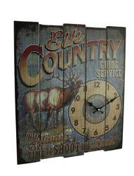 Zeckos Rustic Elk Country Guide Service Wood Wall Clock 18 inch