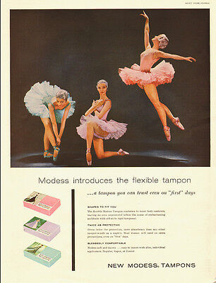 1957 vintage feminine hygiene AD, Ballerinas and Modess Tampons  -022814