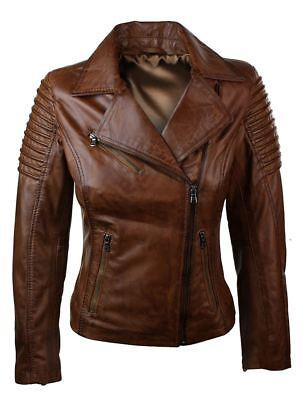 Ladies Women Genuine Real Leather Slim Fit Brown Biker Jacket