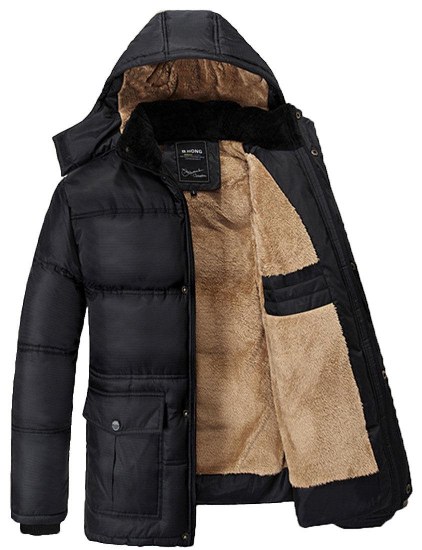 Men's Fleece Faux Fur Lined Winter Hooded Coats Jackets Park