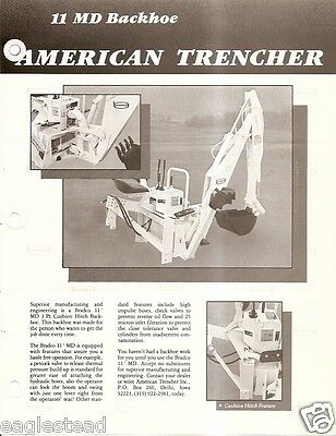 Equipment Brochure - American Trencher Bradco 11md Et Al Backhoe 2 Items E2552