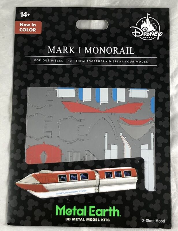 Disney Parks Mark I Monorail Red Color Metal Earth 3D Model Kits WDW - NEW