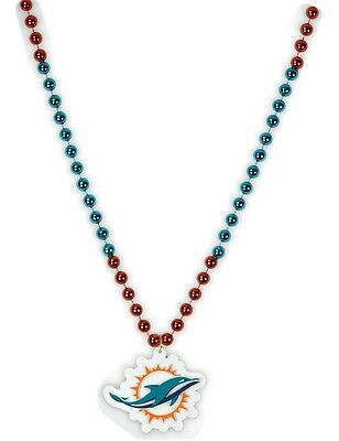 MIAMI DOLPHINS MARDI GRAS BEADS with MEDALLION NECKLACE NFL FOOTBALL (Football Bead Necklaces)
