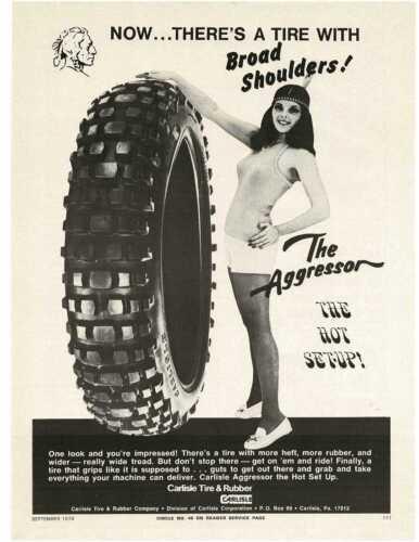 1973 CARLISLE TIRE tall as a woman wearing hot pants Vintage Ad