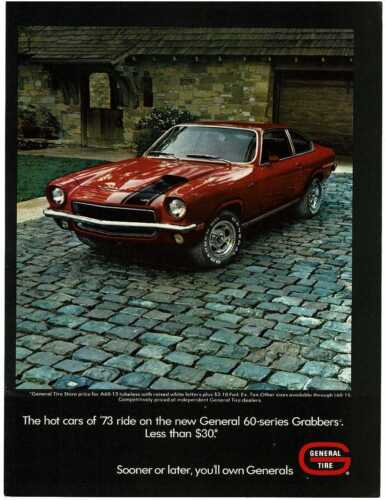 1973 GENERAL TIRE on red Chevy Vega GT Vintage Print Ad