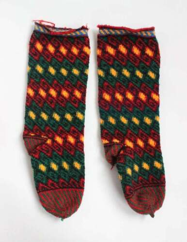 Pair of Vintage Hand Knitted Traditional Ethnic Turkish Socks