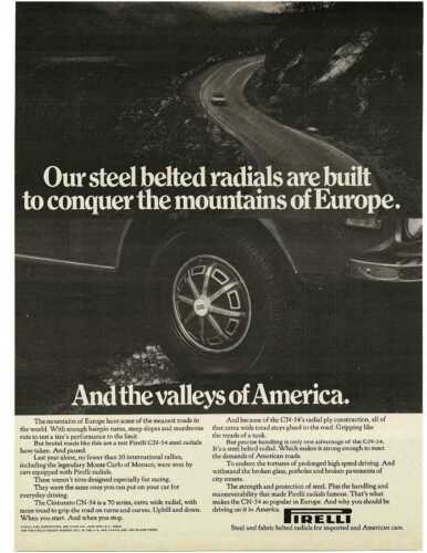 1973 PIRELLI Tires conquers mountains of Europe valleys of America Vintage Ad