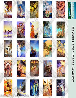 "25  Maxfield Parrish Images 24x48mm Collage Paper 8.5""x11"" - Glass Tile Pendants"