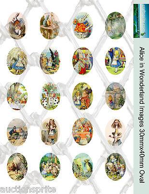 20  Alice in Wonderland Images 30mmx40mm Oval Collage Paper -Glass Tile Pendants