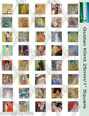 "40  Gustav Klimt Images 1"" Square Collage Paper 8.5"" x 11"" - Glass Tile Pendants"