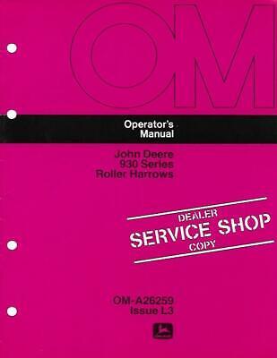 John Deere 930 Series Roller Harrows Operators Manual