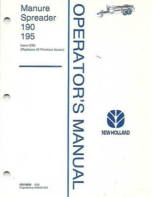 New Holland Manure Spreader 190 195 Operators Manual