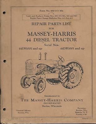 Massey Harris 44 Diesel Tractor Parts Catalog