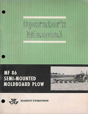 Massey Ferguson Mf 86 Semi Mounted Moldboard Plow Operators Manual