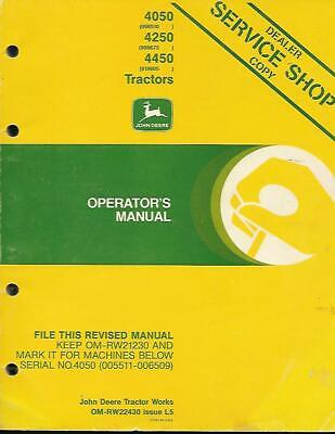 John Deere 4050 4250 And 4450 Tractors Operators Manual