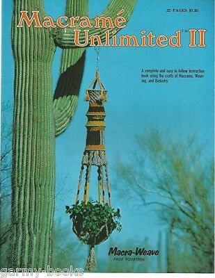 Macrame Unlimited 2 Vintage Instruction Book Plant Hangers Room Divider 1977 NEW](Macrame Plant Hanger Instructions)