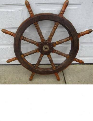 "ANTIQUE NAUTICAL SHIP YACHT WHEEL -- 46"" & 50# weight"