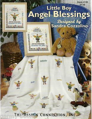 Little Boy Angel Blessings Sandra Cozzolino Baby Angel Cross Stitch Patterns NEW