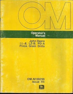 John Deere Ll-alz-b And Pd-a Press Grain Drills Operators Manual