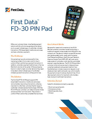 First Data Fd30 Contactless Pin Padnfc - Apple Pay