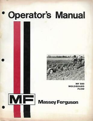 Massey Ferguson Mf880 Moldboard Plow Operators Manual