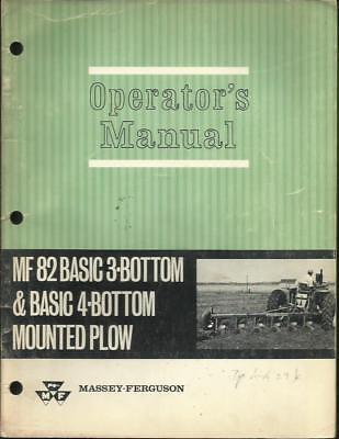 Massey Ferguson Mf 82 Basic 3 And 4 Bottom Mounted Plow Operators Manual