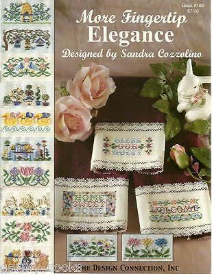 More Fingertip Elegance Sandra Cozzolino DC #106 Cross Stitch Towel Patterns NEW