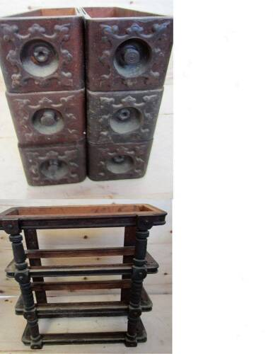 ANTIQUE SINGER TREADLE SEWING MACHINE set of 6 DRAWERS w/ FRAMES